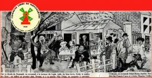 Sur ce dessin de Depaquit, on reconnait à la terrasse du Lapin Agile, les bras levés, Frédé, le maître des lieux; au milieu au premier plan, Bruant et à sa gauche Mac Orlan, en casquette à carreaux. A droite, on reconnait Jehan Rictus (barbu). Derrière lui, Francis Carco et, à terre, Maurice Utrillo